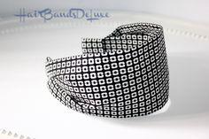 Women's fabric Headband Black and White Comfortable Hairband Italian Cotton Fabric adult headband no slip wide hair band  FREE SHIPPING !!! di HairBandsDeLuxe su Etsy