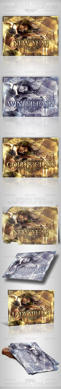 2014 NYE Gold Luxury Winter Flyer  #GraphicRiver         A