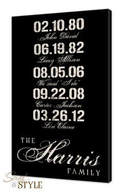 Personalized Special Dates Canvas Wall Art With Family Last Name, Birthdates & Wedding Date, Wedding Sign, Anniversary Sign, 12x18 on Etsy, $69.99