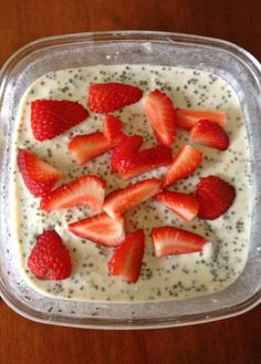 Strawberry Vanilla Power Breakfast Bowl (THM - E; use 1 Tbsp of chia seeds instead of 2)