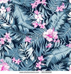 vector seamless graphical artistic tropical nature pattern, spring summer time, rain forest flora, colorful, original, stylish background print with banana, palm leaf, philodendron, hibiscus flower