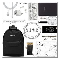 """""""I'm a girl ~Polyvore"""" by meleuterio ❤ liked on Polyvore featuring Bynd Artisan, Paper Mate, Marc Jacobs, Casetify, Witchery, backpacks, contestentry and PVStyleInsiderContest"""