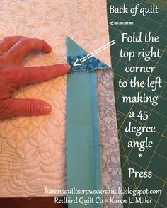 Karen's Quilts, Crows and Cardinals: Tutorial - Mitered and Flanged Machine Binding. [Use this tutorial for binding Quilting 101, Free Motion Quilting, Quilting Tutorials, Hand Quilting, Machine Quilting, Quilting Projects, Quilting Designs, Beginner Quilting, Quilting Ideas