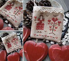 Give Love - PDF Primitive Cross Stitch Pattern