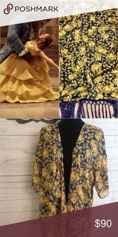 Lularoe Beauty & The Beast Monroe 🥀 New with tags! Beautiful over piece. Disney roses, size is Large. This can fit sizes XL-3XL LuLaRoe Tops Blouses