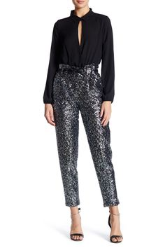 Stretch Sequin Paperbag Pant