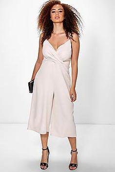Plus Donna Wrap Front Trim Culotte Jumpsuit