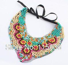 2014 bohème style ethnique dentelle noire tissu perles colliers pour femmes exaggerate vintage collares Hot nouvelle mode DL903616