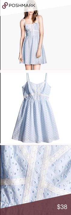 H&M BLUE EYELET SUMMER DRESS Beautiful in excellent conditions H&M dress. Light blue and white. No flaws, rips, holes or stains. Zips on the back. Adjustable spaghetti straps. 100% cotton. Item#121 MEASUREMENTS ON SIZE CHART ON PICTURE #4. Refer to chart for sizing. 💗Condition: NWT 💗Smoke free home 💗No trades, No returns 💗No modeling  💗Shipping next day 💗OPEN TO reasonable OFFERS  💗BUNDLE and save more 💗All transactions video recorded to ensure quality. H&M Dresses Mini