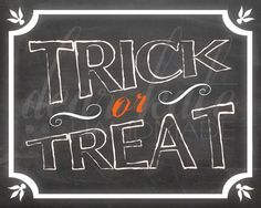 Trick or Treat- Halloween Chalkboard Print on Etsy, $5.00