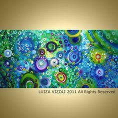 SALE Original Abstract Modern Fantasy Art Blue Green Water Large Acrylic Paintingon Canvas by Luiza Vizoli 48x24