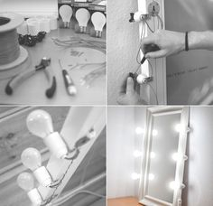 Geeks club: I made a lighted makeup mirror for the studio -  Click to enlarge    I created a simple make-up mirror by mounting six E27 s...