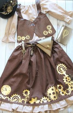 little girl DIY steampunk costume Kids Steampunk Costume, Steampunk Kids, Steampunk Dress, Steampunk Design, Handmade Halloween Costumes, Halloween Sewing, Fall Sewing, Diy Costumes, Halloween Crafts