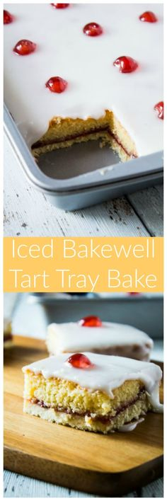 Iced Bakewell Tart Tray Bake - Take the classic cherry Bakewell tart recipe and make it into a tray bake! A golden layer of shortcrust pastry filled with an almond cake, strawberry jam, and topped with icing and glacé cherries! Bakewell Tart, Bakewell Traybake, Tart Recipes, Sweet Recipes, Baking Recipes, Dessert Recipes, Fruit Dessert, Bolo Normal, Puddings