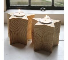 Wooden Star Tea-Light Holders