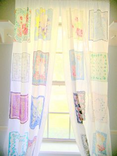 handkerchief curtains - white in between to space out