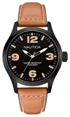 nautica men s n16692g nct 17 stainless steel brown leather watch a13614g mens nautica watch