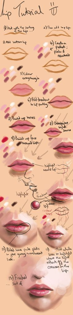 lip tutorial by acidlullaby http://acidlullaby.deviantart.com/art/Lip-Painting-Tutorial-23323247 liptutorial.jpg (700×3006):