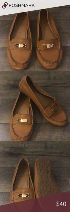 Coach Flats Size 6, tan and very comfortable. Made of soft leather with Gold hardware on top. For someone who needs to look nice but have comfy shoes. Coach Shoes Flats & Loafers
