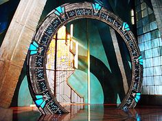 The beautiful - and BIG! - Stargate at Atlantis... tweaked a little to look less like a photograph. (Tho this image was made from my original photo from the Vancouver TV studio set.)