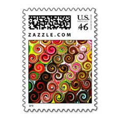 Swirl Me Pretty Colorful Swirls Pattern Stamp