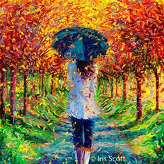 Lady walking with her umbrella on a bright rainy day by Iris Scott l #painting #colleen #fingerart