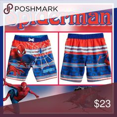 "Toddler Boy Marvel Spider-Man Swim Trunks Your little super hero will be ready to save they day in these boys' swim trunks.  PRODUCT FEATURES:      Elastic waistband     ""Go Spidey!"" and Spider-Man graphics     UPF 50+ sun protection     Faux drawstring  FABRIC & CARE:      Polyester     Machine wash Marvel Swim Swim Trunks"