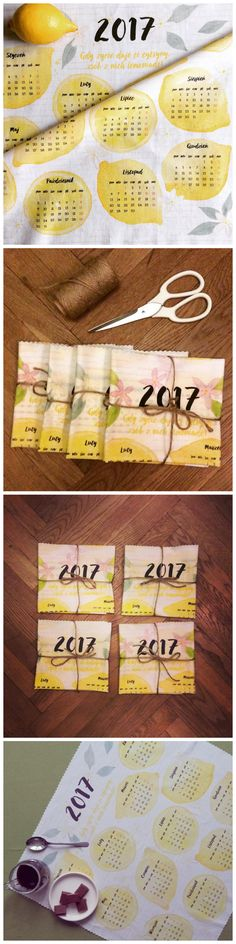 Vintage prezent na dzień Babci i Dziadka -kalendarz na wydrukowany na bawełnianej tkaninie - jako ściereczka lub serwetka.