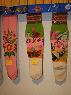 Muhu sukad-sokid / Folk socks and stockings, Muhu. I'm in love with these knitted and embroidered socks. They would look fantastic on children!
