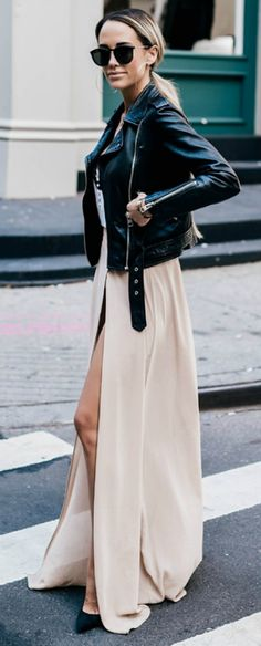Megan Anderson + ballroom + biker girl chic + fabulous outfit + floor length gown + slit detailing + classic leather jacket + pair of shades + simply perfect + maxi dress + fall.  Leather Jacket: All saints + Top: Chelsea 28 + Skirt: Windsor + Shoes: Louboutin.