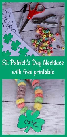 Fun Activities for Kids for St. Patrick's Day Free Printable for these adorable #StPatricksDay crafts for school parties. Edible rainbow necklaces
