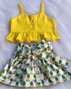 Toddler Baby Girls Pineapple T-shirt Vest Tops Skirts Outfits Summer Sundress Kleinkind Baby Mädchen Ananas T-Shirt Weste Tops Röcke. Cute Baby Girl Outfits, Toddler Girl Dresses, Baby Girls, Cute Baby Clothes, Little Girl Dresses, Toddler Outfits, Toddler Summer Clothes, Baby Girl Tops, Fashion Kids