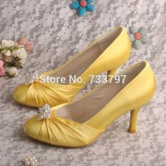 ec701ed9b79787 Wedopus Fashion Women Shoes Yellow Round Toe Pearl Satin 3