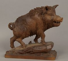 great carved wood wild boar
