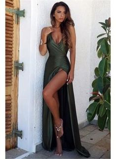 Shown Color:  Green    Silhouette:  A-line    Neckline:  Straps    Hemline/Train:  Long    Fabric:  Stretch Satin    Embellishment:  Split Front    Occasion:  Prom    Fully Lined:  Yes    Built-in Bra:  Yes