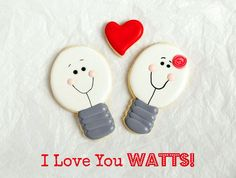 "Are you looking for cute Valentine Cookies? These simple ""I love you watts"" sugar cookies are decorated with royal icing and make very cute Valenine gifts."