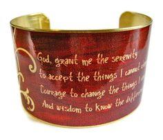 Serenity Prayer cuff bracelet brass or by UniqueArtPendants