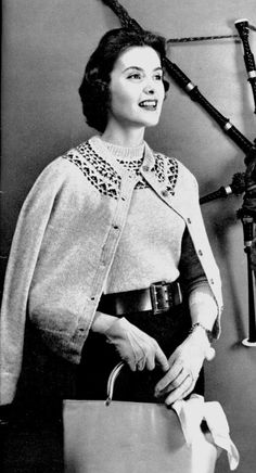 Ladies 1950s Vintage Fair Isle-Style Twin Set in Shetland Wool -- PDF KNITTING PATTERN