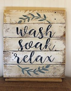 Rustic Pallet Wall Art – Wash Soak Relax – Wood Bathroom Sign – Farmhouse Decor – Wedding Gift – Relax Soak Unwind – Rustic Bath teal and silver bathroom accessories Rustic Bathroom Wall Decor, Bathroom Wall Art, Bathroom Signs, Silver Bathroom, White Bathroom, Bath Decor, Small Bathroom, Bathroom Ideas, Bathroom Interior