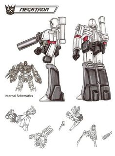 Megatron combines brute strength, military cunning, ruthlessness and terror. Aches to return to Cybertron to complete the Decepticon conquest, but only after destroying all Autobots on Earth. Plans to possess all of Earth's resources. Incredibly powerful and intelligent. Fires particle beam cannon. Can link up interdimensionally to a black hole and draw anti-matter from it for use as a weapon. No known weakness. - See this image on Photobucket.