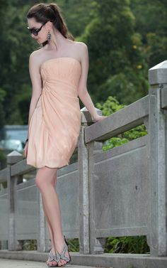 Fashion Sweet Pink Tube Top Bandeau Short Silk Evening Dress Cocktail and Party dress,<3!