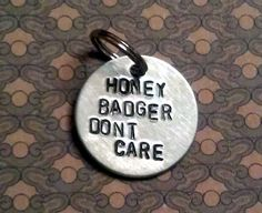 Oliver (Skipper) LOVES his Honey Badger Don't Care Pet Tag Metal Stamped by hollywoofstyles, $10.00