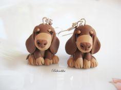 Choco y tan pendientes de dachshund arcilla por Belundika en Etsy