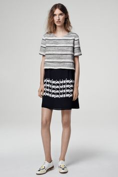 Thakoon Addition | Resort 2015 | 02 Monochrome striped short sleeve cropped top and floral mini skirt