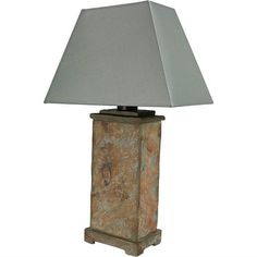 Sunnydaze Indoor/Outdoor Table Lamp - Weather Resistant Natural Slate Light - Interior and Exterior Lighting for Bedroom, Patio, Office and Porch - Living Room Lighting, Bedroom Lighting, Outdoor Table Lamps, Patio Side Table, Unique Lighting, Exterior Lighting, Fabric Shades, Incandescent Bulbs, Slate