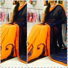 Buy Orange Chiffon Saree Online: justforbuy.com