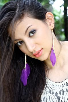2 Purple Feathers & Jewels Dangle  Earrings by UmaBoutique, $14.00