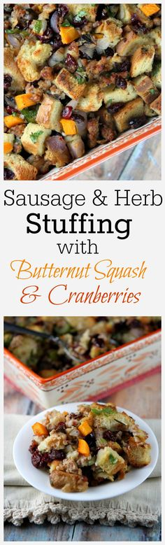 Sausage and Herb Stuffing Recipe with Butternut Squash and Cranberries @egglandsbest