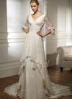 Robes de mariée - $114.49 - Forme Empire Col V alayage/Pinceau train Mousseline Robe de mariée avec Plissé Emperler (00205001336)