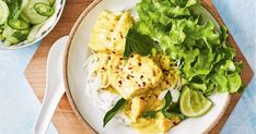 Try this Asian-style twist on fresh snapper. It's poached in a delicious coconut milk mixture and served on a bed of rice vermicelli noodles with a crunchy green salad. Celery Salad, Vermicelli Noodles, Green Cabbage, Food Pictures, Food Pics, Fish Dishes, Fish And Seafood, Main Meals, Turmeric